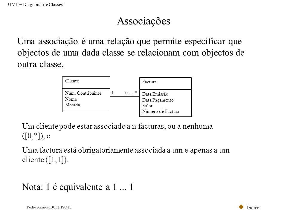 Índice Pedro Ramos, DCTI/ISCTE Associações Uma associação é uma relação que permite especificar que objectos de uma dada classe se relacionam com obje
