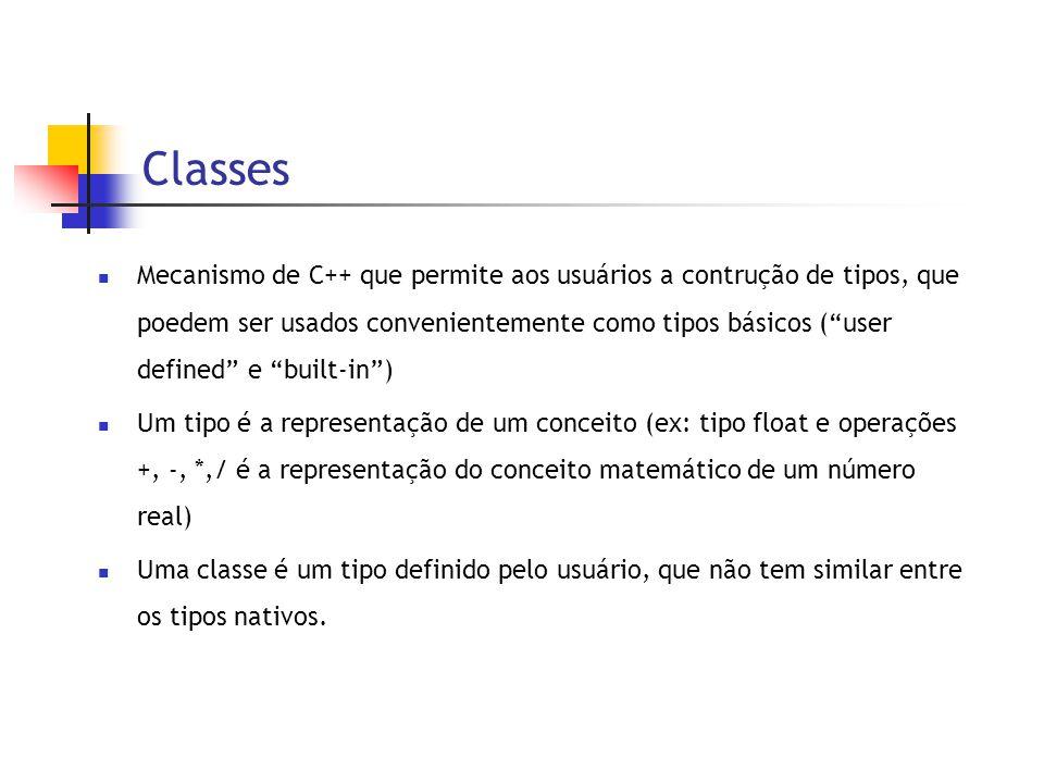 Classes  Mecanismo de C++ que permite aos usuários a contrução de tipos, que poedem ser usados convenientemente como tipos básicos ( user defined e built-in )  Um tipo é a representação de um conceito (ex: tipo float e operações +, -, *,/ é a representação do conceito matemático de um número real)  Uma classe é um tipo definido pelo usuário, que não tem similar entre os tipos nativos.