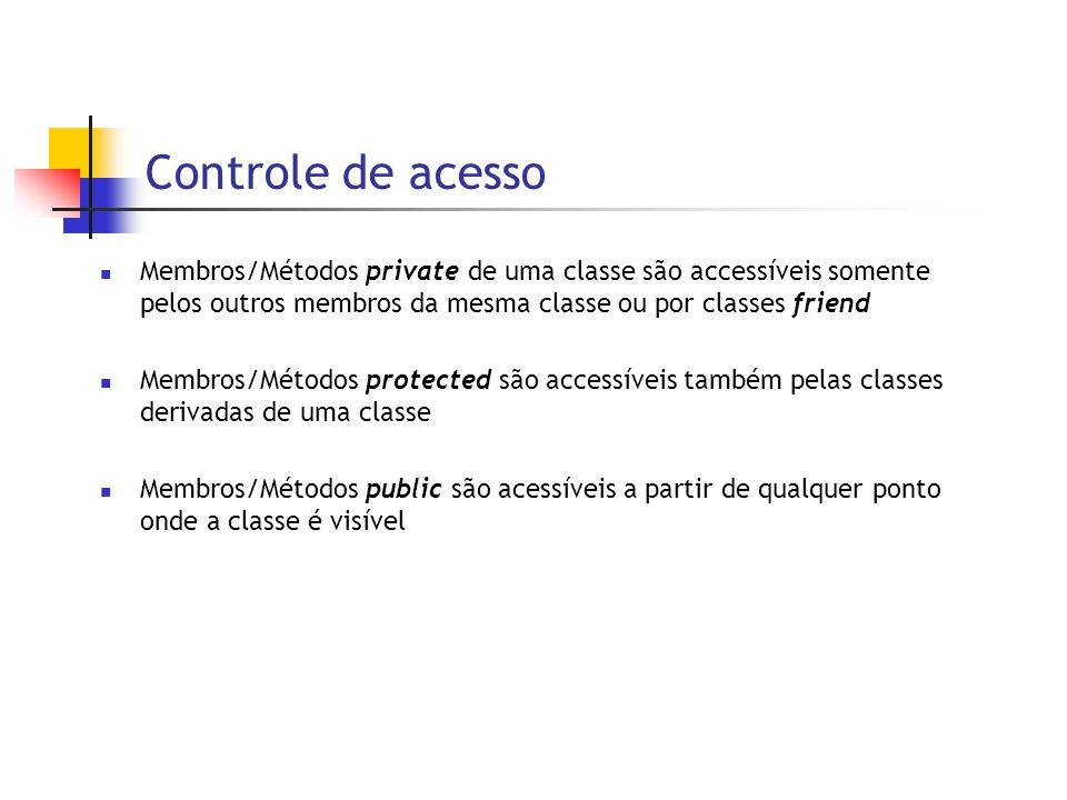 Controle de acesso  Membros/Métodos private de uma classe são accessíveis somente pelos outros membros da mesma classe ou por classes friend  Membros/Métodos protected são accessíveis também pelas classes derivadas de uma classe  Membros/Métodos public são acessíveis a partir de qualquer ponto onde a classe é visível