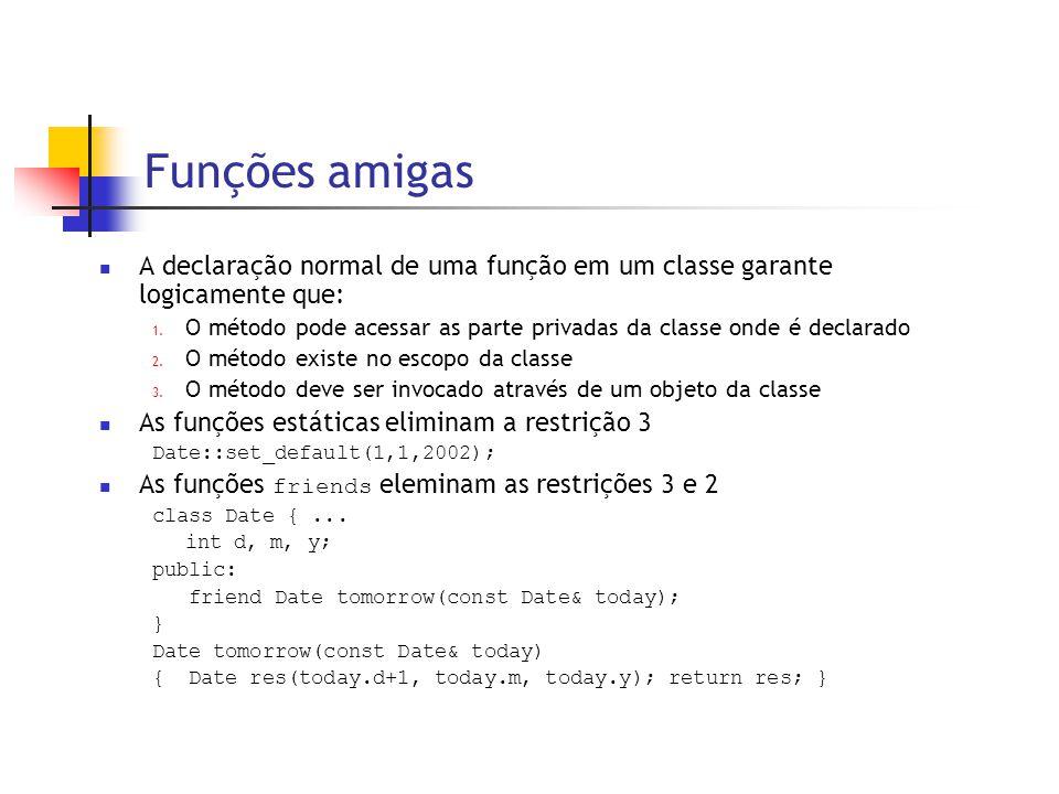 Funções amigas  A declaração normal de uma função em um classe garante logicamente que: 1. O método pode acessar as parte privadas da classe onde é d