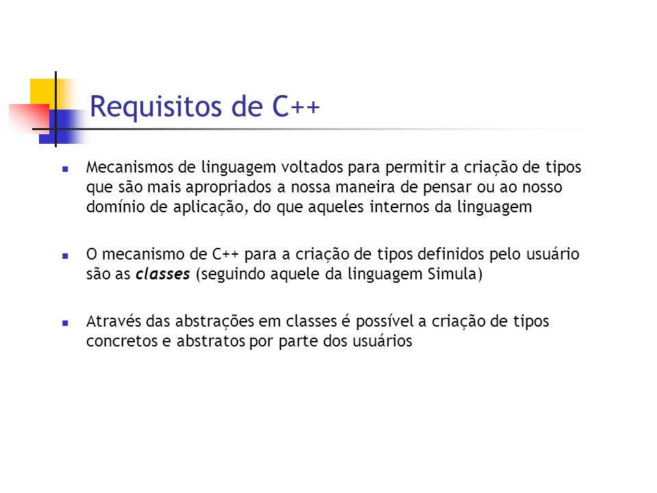 Requisitos de C++  Mecanismos de linguagem voltados para permitir a criação de tipos que são mais apropriados a nossa maneira de pensar ou ao nosso domínio de aplicação, do que aqueles internos da linguagem  O mecanismo de C++ para a criação de tipos definidos pelo usuário são as classes (seguindo aquele da linguagem Simula)  Através das abstrações em classes é possível a criação de tipos concretos e abstratos por parte dos usuários