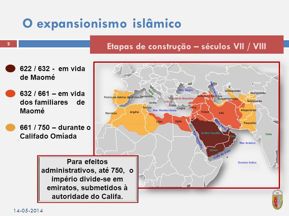 O expansionismo islâmico 14-05-2014 2 Etapas de construção – séculos VII / VIII 622 / 632 - em vida de Maomé 632 / 661 – em vida dos familiares de Maomé 661 / 750 – durante o Califado Omíada Para efeitos administrativos, até 750, o império divide-se em emiratos, submetidos à autoridade do Califa.