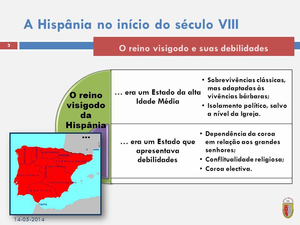 A Hispânia no início do século VIII 14-05-2014 3 O reino visigodo e suas debilidades … era um Estado da alta Idade Média … era um Estado que apresentava debilidades •Sobrevivências clássicas, mas adaptadas às vivências bárbaras; •Isolamento político, salvo a nível da Igreja.
