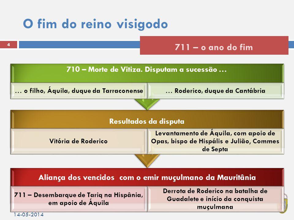 O fim do reino visigodo 14-05-2014 4 711 – o ano do fim Aliança dos vencidos com o emir muçulmano da Mauritânia 711 – Desembarque de Tariq na Hispânia