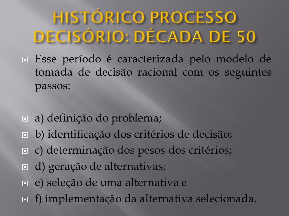  Esse período é caracterizada pelo modelo de tomada de decisão racional com os seguintes passos:  a) definição do problema;  b) identificação dos c