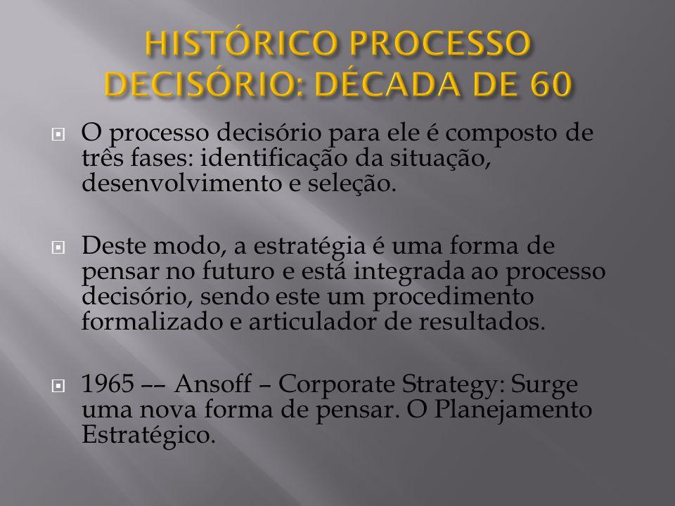  O processo decisório para ele é composto de três fases: identificação da situação, desenvolvimento e seleção.