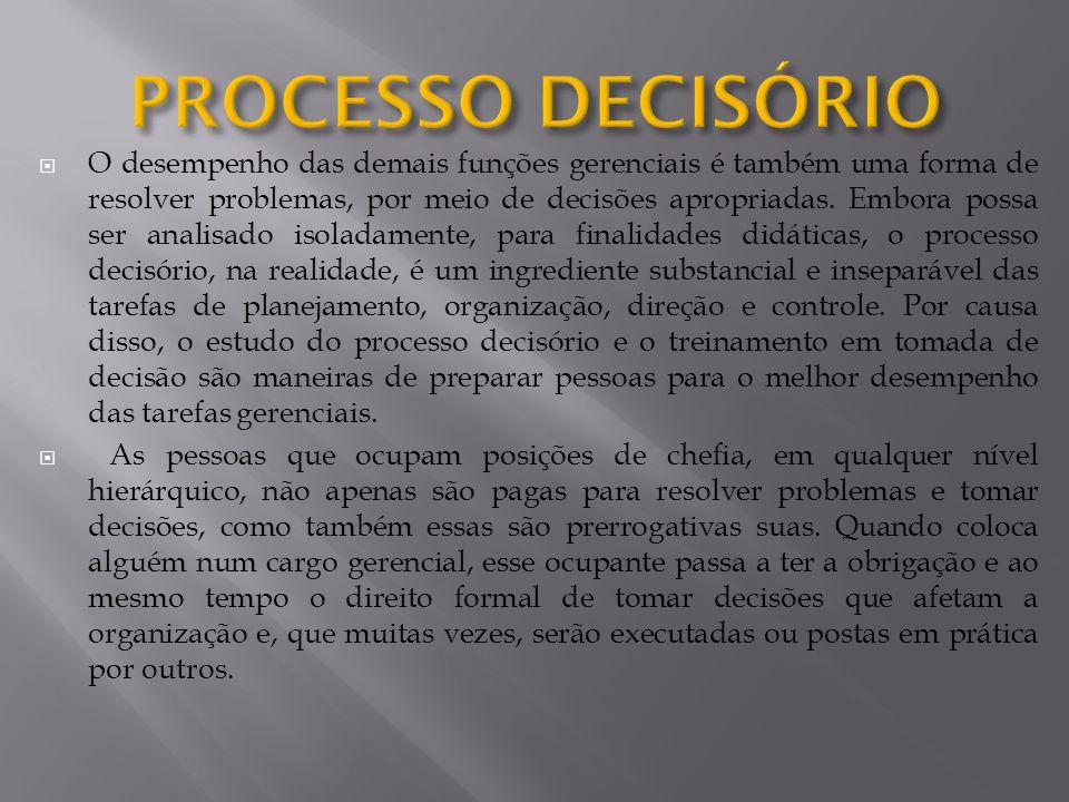  O desempenho das demais funções gerenciais é também uma forma de resolver problemas, por meio de decisões apropriadas.