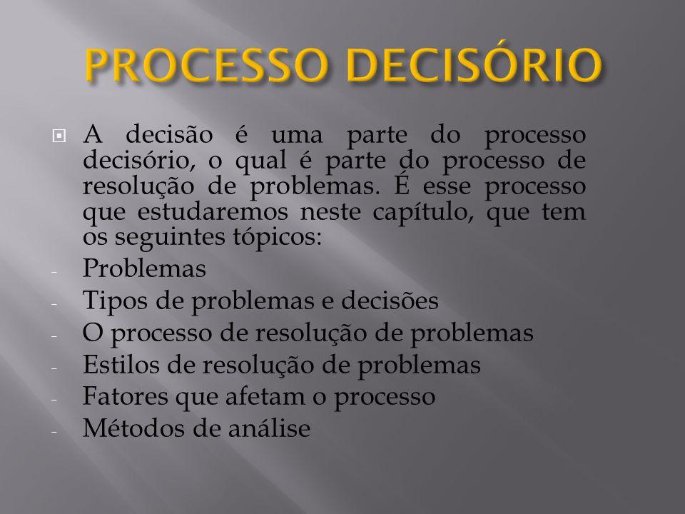  A decisão é uma parte do processo decisório, o qual é parte do processo de resolução de problemas. É esse processo que estudaremos neste capítulo, q