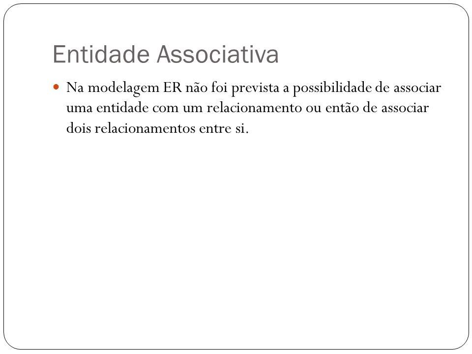 Entidade Associativa  Na modelagem ER não foi prevista a possibilidade de associar uma entidade com um relacionamento ou então de associar dois relac