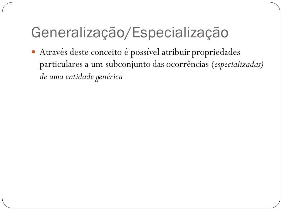 Generalização/Especialização  Através deste conceito é possível atribuir propriedades particulares a um subconjunto das ocorrências (especializadas)