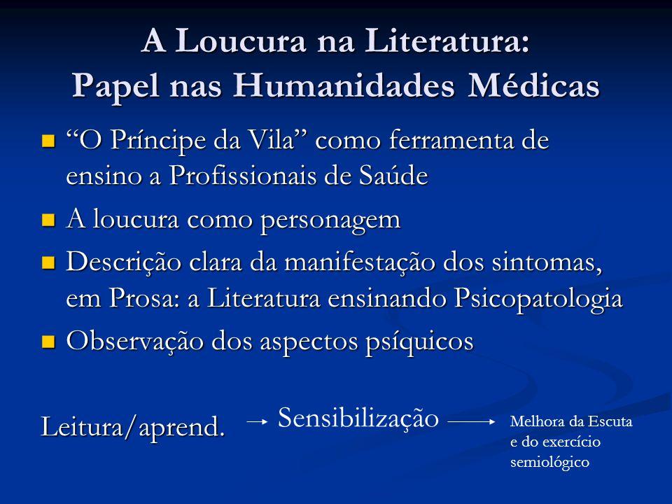 "A Loucura na Literatura: Papel nas Humanidades Médicas  ""O Príncipe da Vila"" como ferramenta de ensino a Profissionais de Saúde  A loucura como pers"