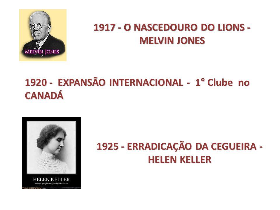 1917 - O NASCEDOURO DO LIONS - MELVIN JONES 1920 - EXPANSÃO INTERNACIONAL - 1° Clube no CANADÁ 1925 - ERRADICAÇÃO DA CEGUEIRA - HELEN KELLER