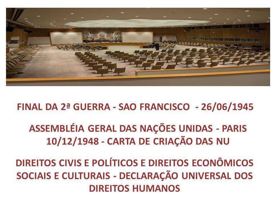 FINAL DA 2ª GUERRA - SAO FRANCISCO - 26/06/1945 ASSEMBLÉIA GERAL DAS NAÇÕES UNIDAS - PARIS 10/12/1948 - CARTA DE CRIAÇÃO DAS NU DIREITOS CIVIS E POLÍT