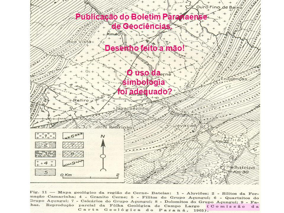 Publicação do Boletim Paranaense de Geociências. O uso da simbologia foi adequado? Desenho feito a mão!
