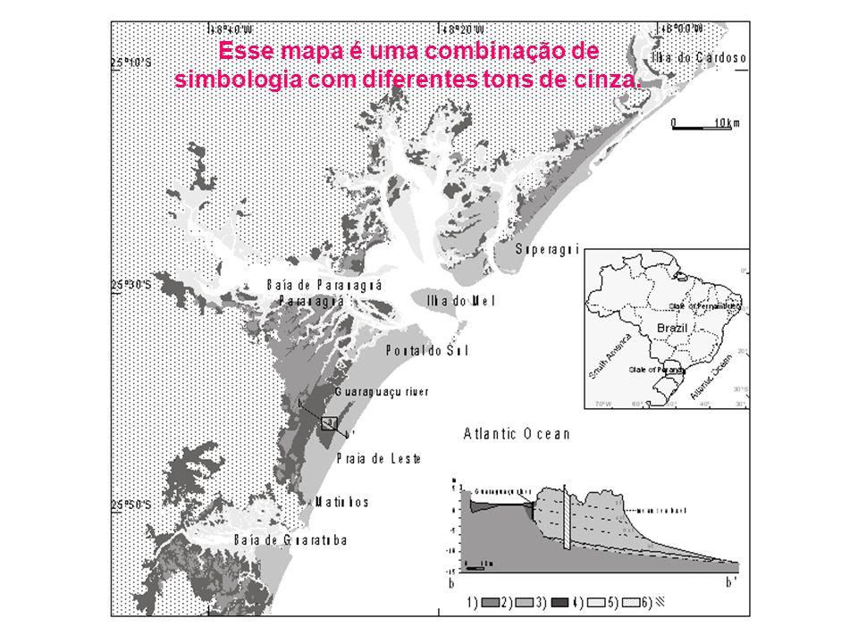 Esse mapa é uma combinação de simbologia com diferentes tons de cinza.