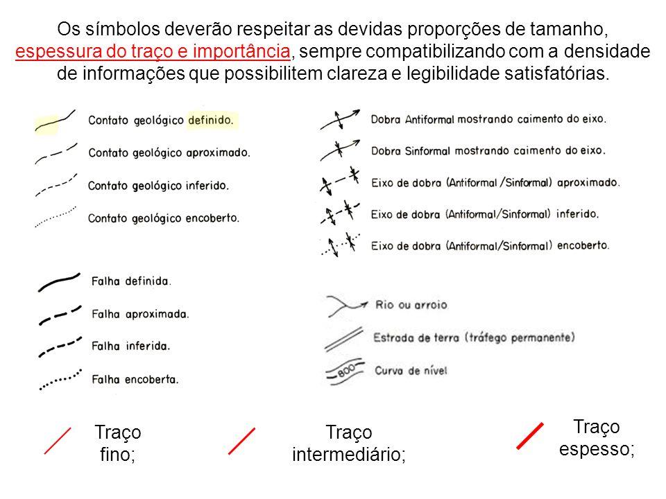 Os símbolos deverão respeitar as devidas proporções de tamanho, espessura do traço e importância, sempre compatibilizando com a densidade de informaçõ