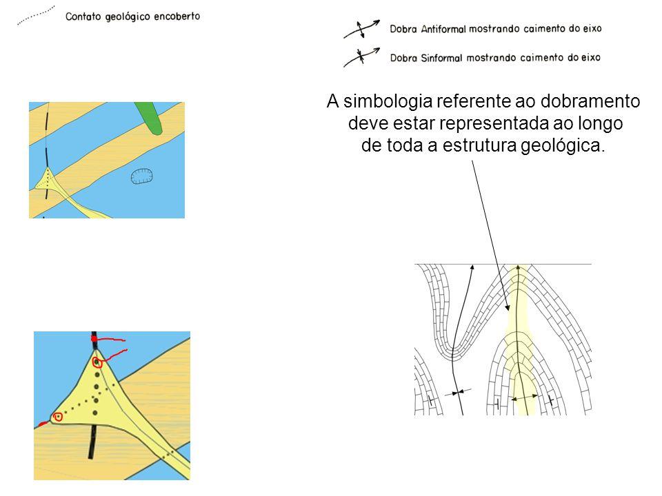 A simbologia referente ao dobramento deve estar representada ao longo de toda a estrutura geológica.