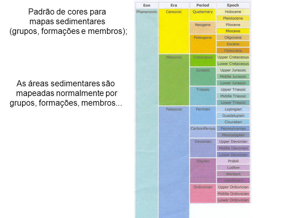 Padrão de cores para mapas sedimentares (grupos, formações e membros); As áreas sedimentares são mapeadas normalmente por grupos, formações, membros..