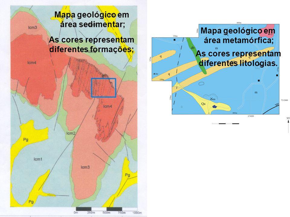 Mapa geológico em área sedimentar; As cores representam diferentes formações; Mapa geológico em área metamórfica; As cores representam diferentes lito