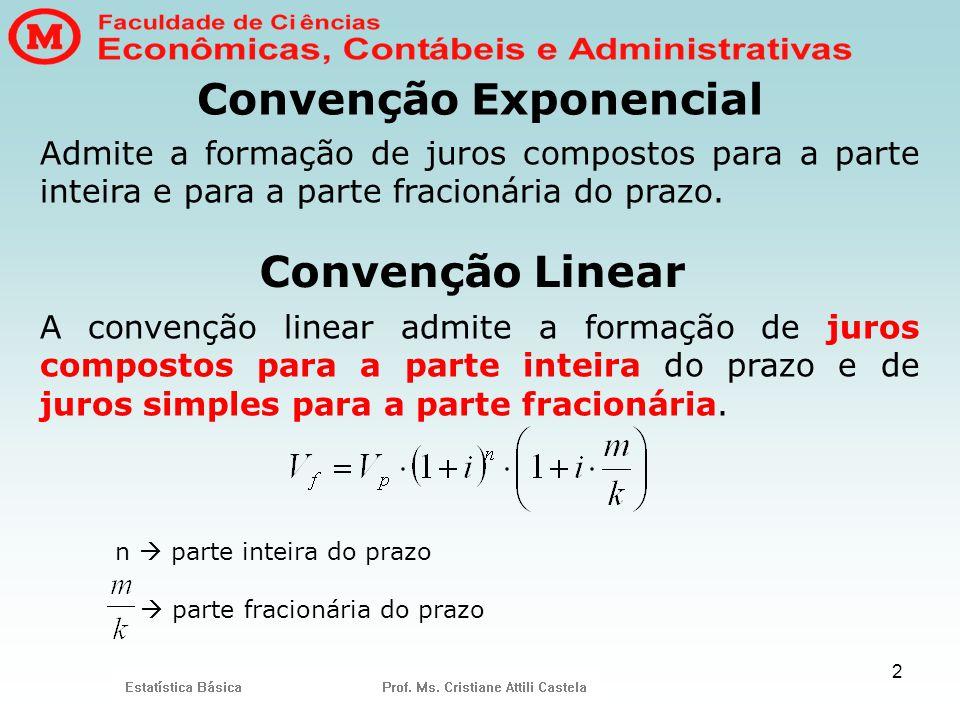 2 Convenção Exponencial A convenção linear admite a formação de juros compostos para a parte inteira do prazo e de juros simples para a parte fracioná