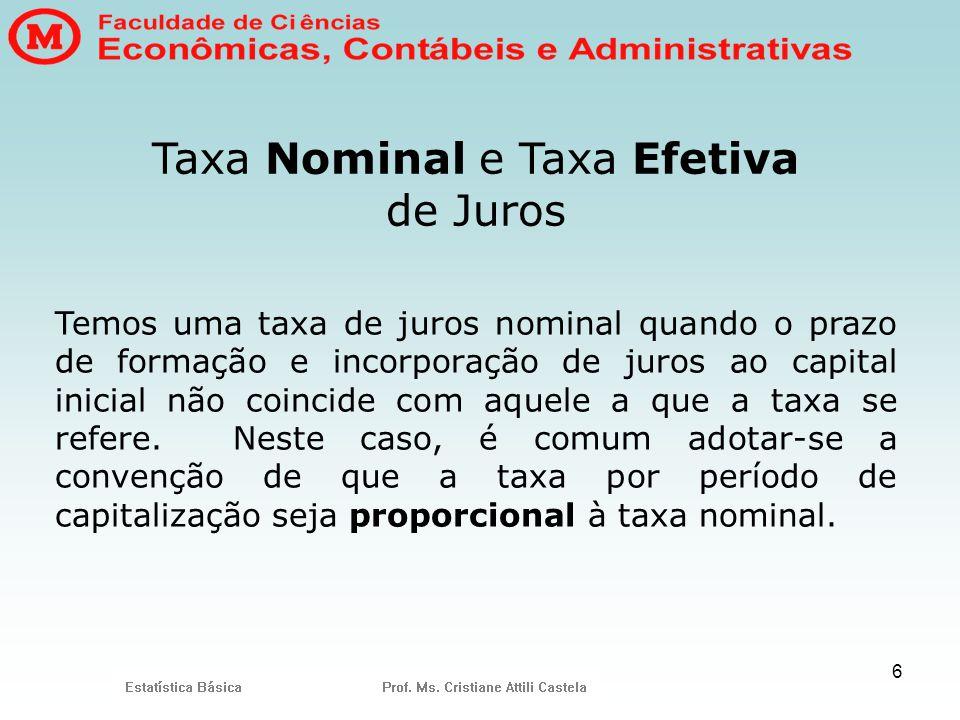 6 Taxa Nominal e Taxa Efetiva de Juros Temos uma taxa de juros nominal quando o prazo de formação e incorporação de juros ao capital inicial não coinc