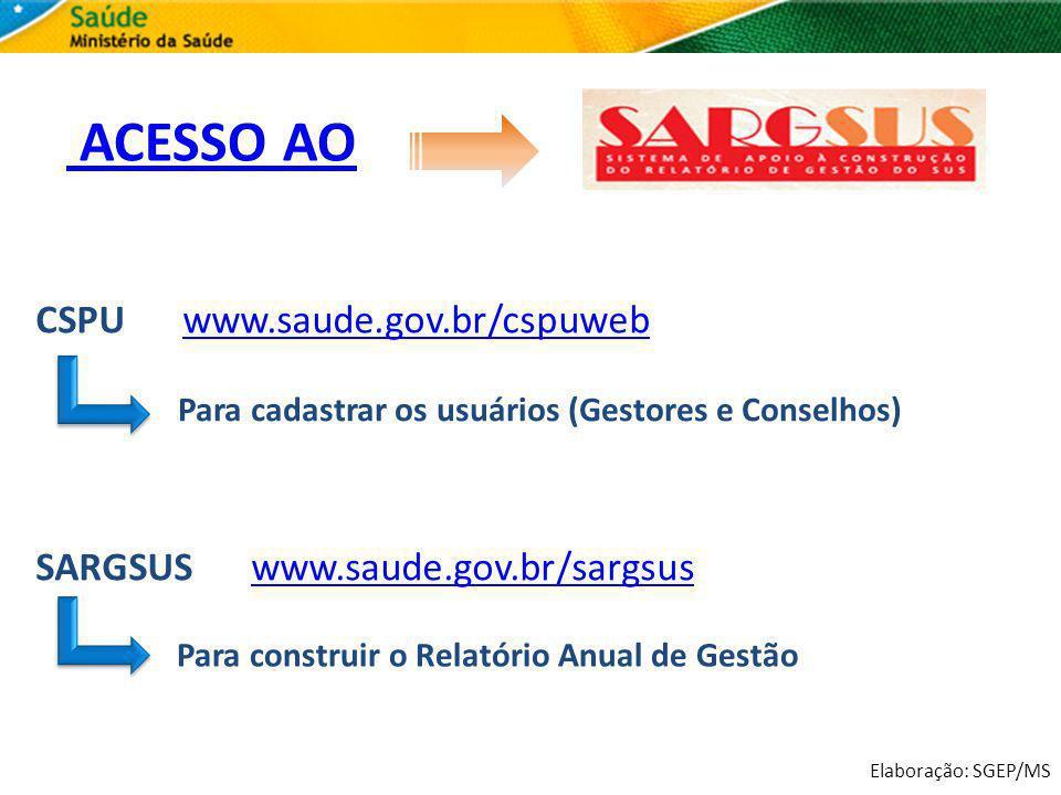 Elaboração: SGEP/MS ACESSO AO CSPU www.saude.gov.br/cspuwebwww.saude.gov.br/cspuweb SARGSUS www.saude.gov.br/sargsuswww.saude.gov.br/sargsus Para cada