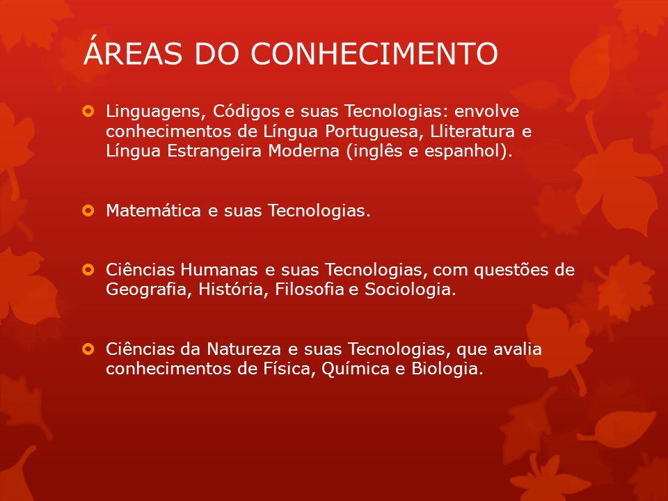 ÁREAS DO CONHECIMENTO  Linguagens, Códigos e suas Tecnologias: envolve conhecimentos de Língua Portuguesa, Lliteratura e Língua Estrangeira Moderna (