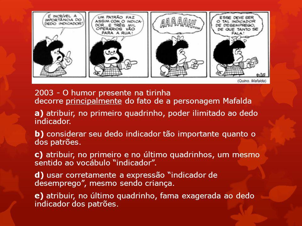 2003 - O humor presente na tirinha decorre principalmente do fato de a personagem Mafalda a) atribuir, no primeiro quadrinho, poder ilimitado ao dedo