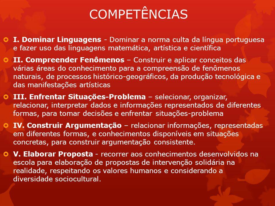 COMPETÊNCIAS  I. Dominar Linguagens - Dominar a norma culta da língua portuguesa e fazer uso das linguagens matemática, artística e científica  II.