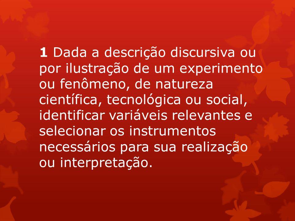 1 Dada a descrição discursiva ou por ilustração de um experimento ou fenômeno, de natureza científica, tecnológica ou social, identificar variáveis re