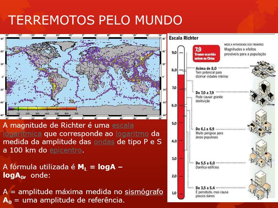 TERREMOTOS PELO MUNDO A magnitude de Richter é uma escala logarítmica que corresponde ao logaritmo da medida da amplitude das ondas de tipo P e S a 10