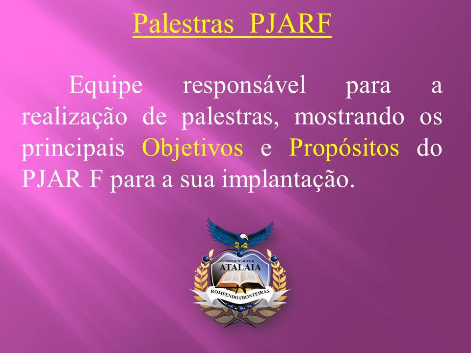 Palestras PJARF Equipe responsável para a realização de palestras, mostrando os principais Objetivos e Propósitos do PJAR F para a sua implantação.