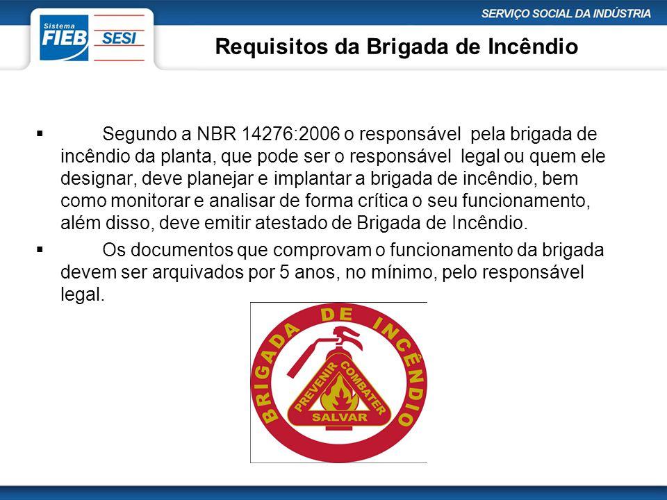 Requisitos da Brigada de Incêndio  Segundo a NBR 14276:2006 o responsável pela brigada de incêndio da planta, que pode ser o responsável legal ou que