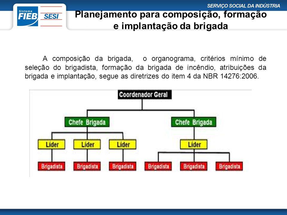 Planejamento para composição, formação e implantação da brigada A composição da brigada, o organograma, critérios mínimo de seleção do brigadista, for