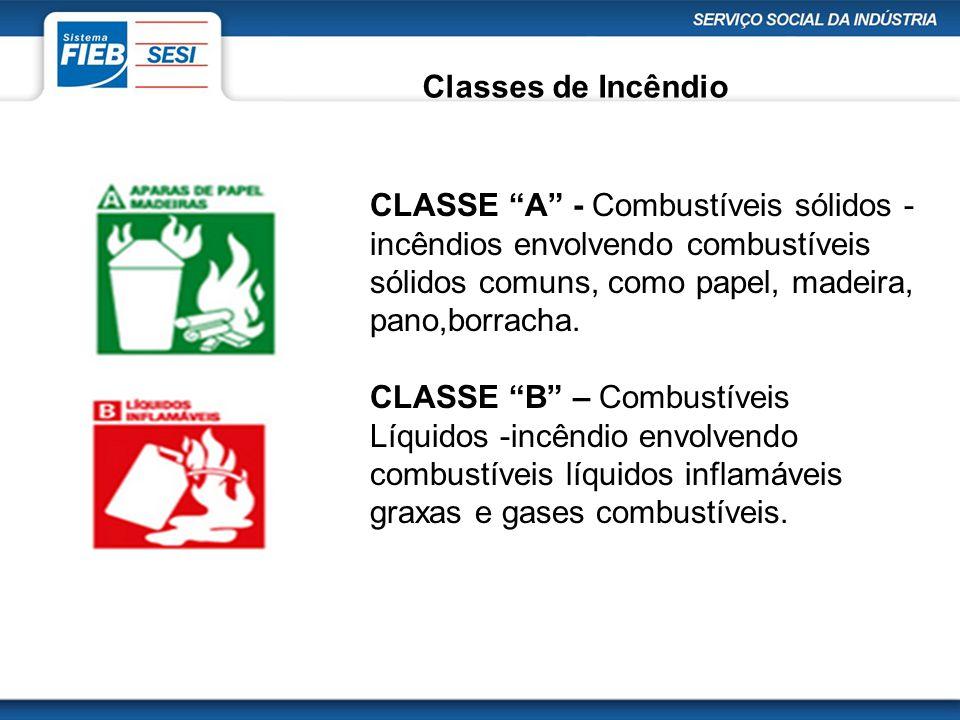 """Classes de Incêndio CLASSE """"A"""" - Combustíveis sólidos - incêndios envolvendo combustíveis sólidos comuns, como papel, madeira, pano,borracha. CLASSE """""""