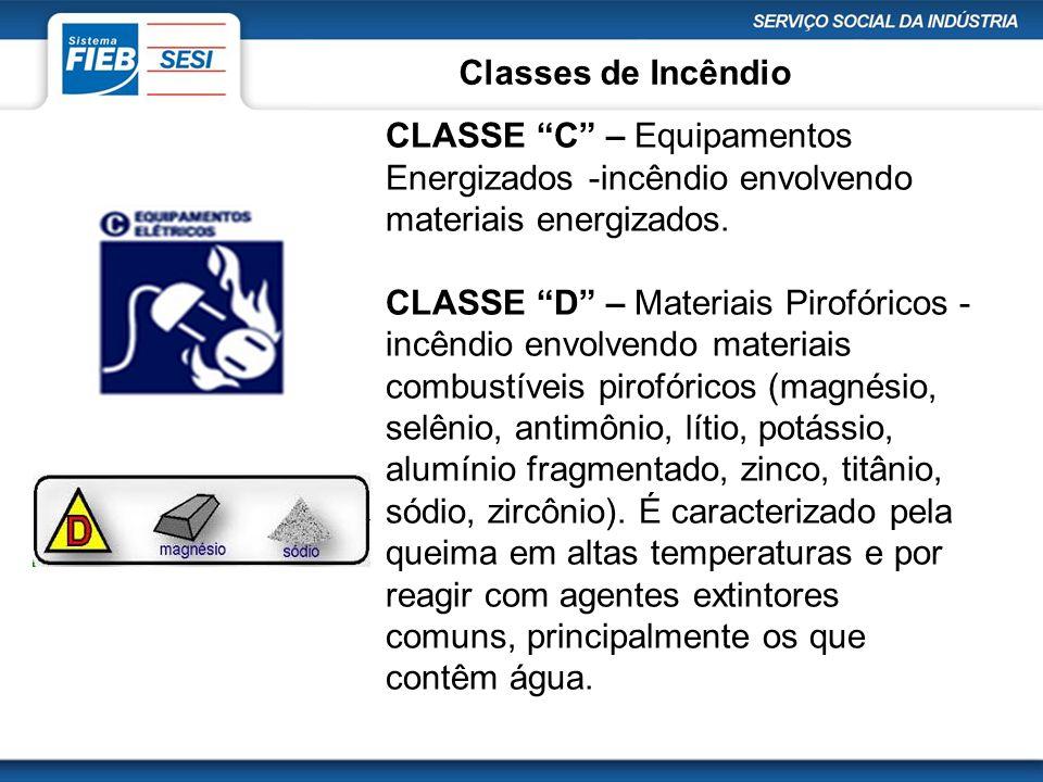 """Classes de Incêndio CLASSE """"C"""" – Equipamentos Energizados -incêndio envolvendo materiais energizados. CLASSE """"D"""" – Materiais Pirofóricos - incêndio en"""
