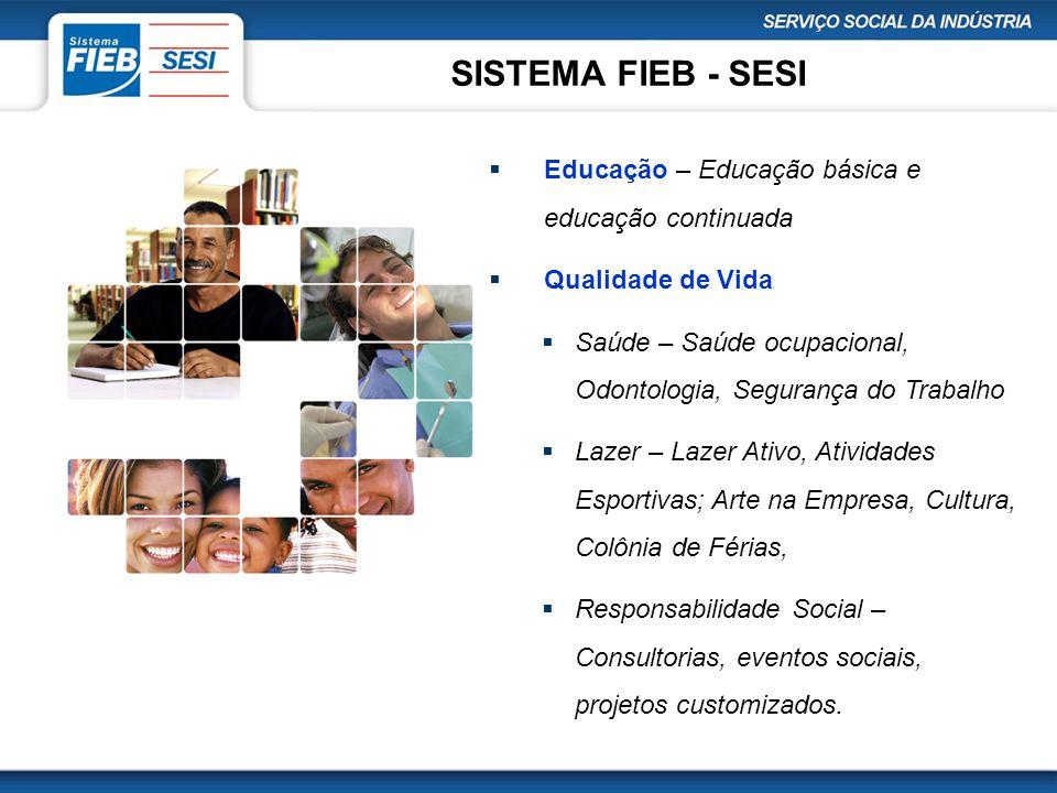 SISTEMA FIEB - SESI  Educação – Educação básica e educação continuada  Qualidade de Vida  Saúde – Saúde ocupacional, Odontologia, Segurança do Trab