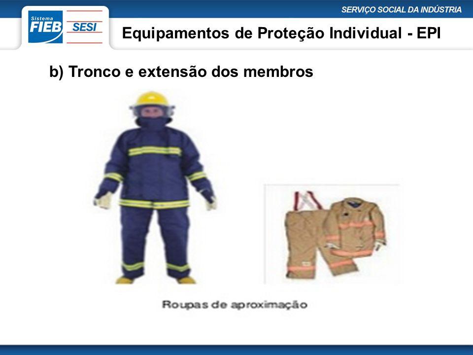 Equipamentos de Proteção Individual - EPI b) Tronco e extensão dos membros
