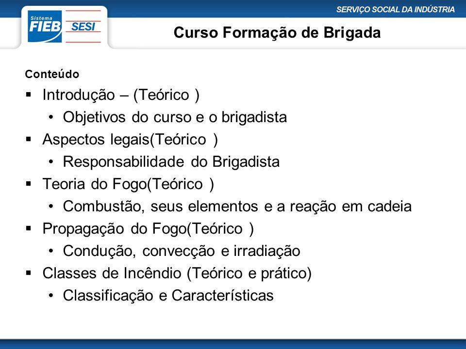 Curso Formação de Brigada Conteúdo  Introdução – (Teórico ) •Objetivos do curso e o brigadista  Aspectos legais(Teórico ) •Responsabilidade do Briga