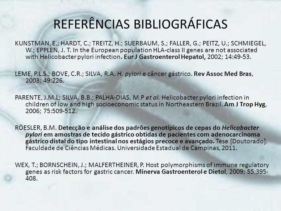 REFERÊNCIAS BIBLIOGRÁFICAS KUNSTMAN, E.; HARDT, C.; TREITZ, H.; SUERBAUM, S.; FALLER, G.; PEITZ, U.; SCHMIEGEL, W.; EPPLEN, J. T. In the European popu
