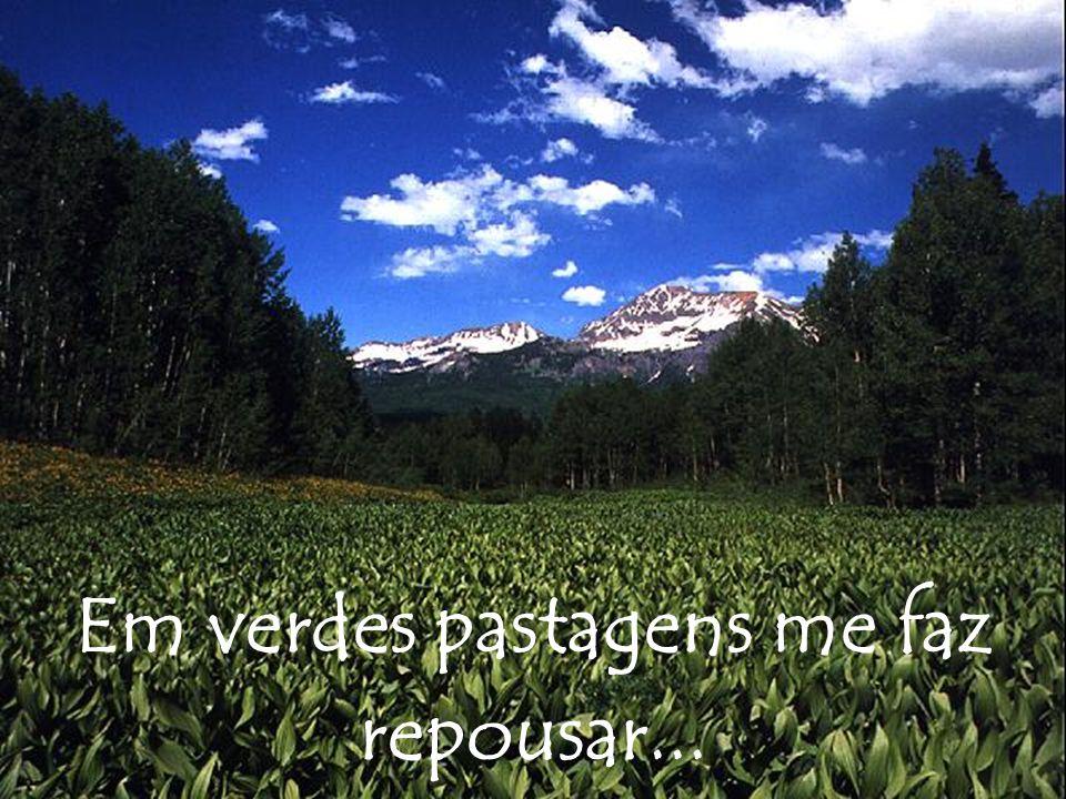Em verdes pastagens me faz repousar...
