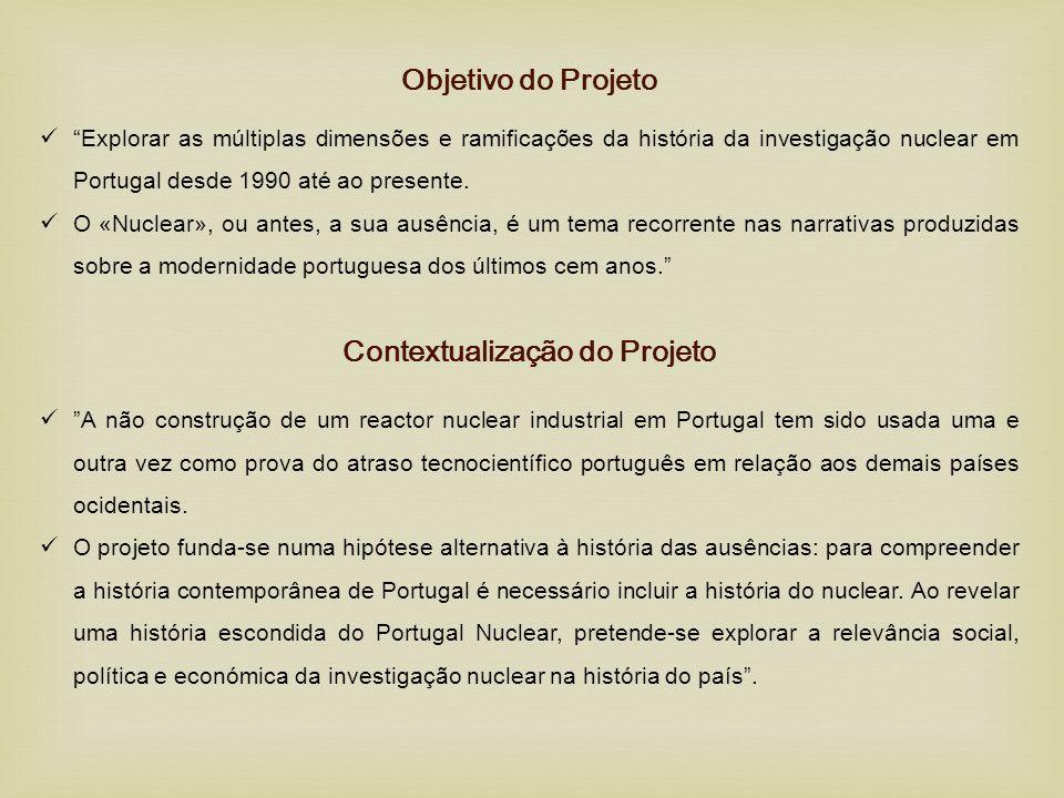 """Objetivo do Projeto  """"Explorar as múltiplas dimensões e ramificações da história da investigação nuclear em Portugal desde 1990 até ao presente.  O"""