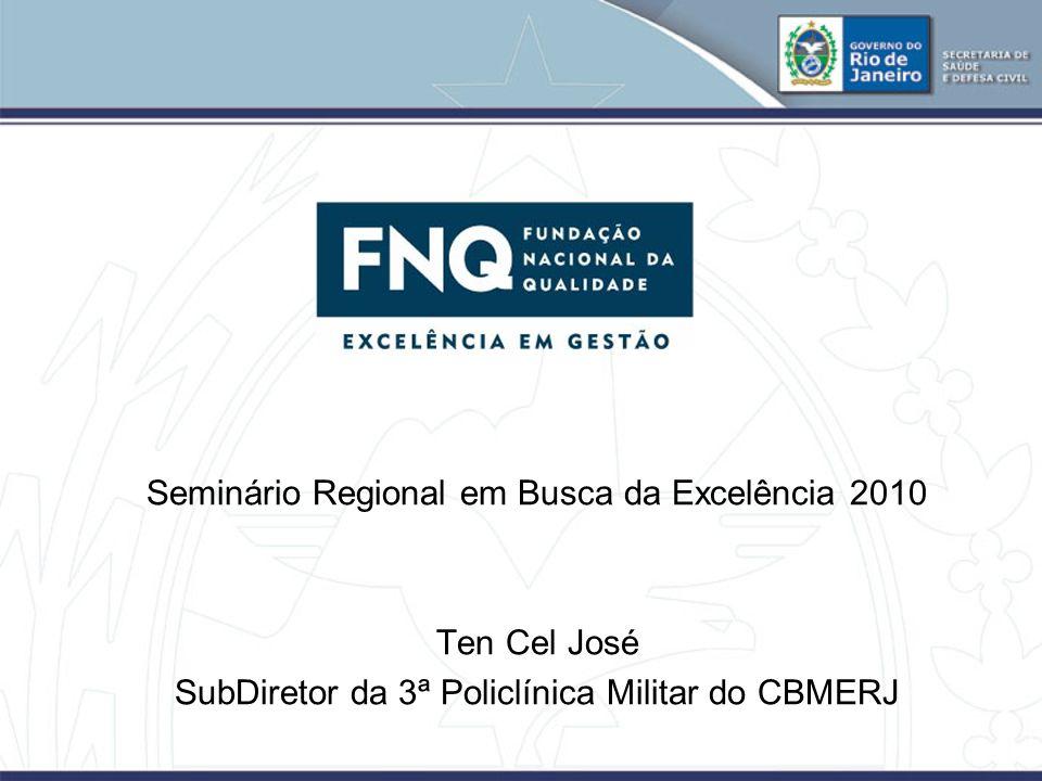 Seminário Regional em Busca da Excelência 2010 Ten Cel José SubDiretor da 3ª Policlínica Militar do CBMERJ