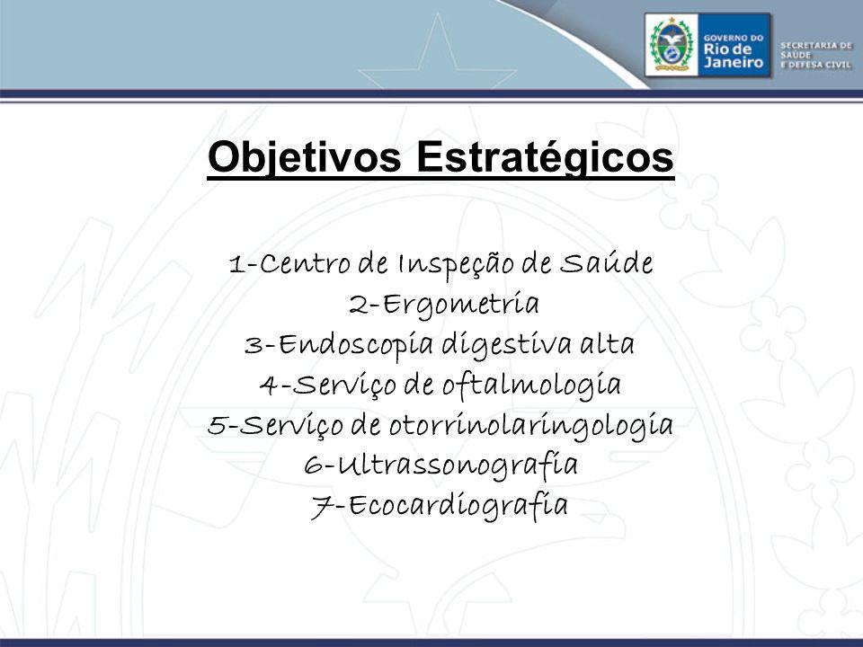 Objetivos Estratégicos 1-Centro de Inspeção de Saúde 2-Ergometria 3-Endoscopia digestiva alta 4-Serviço de oftalmologia 5-Serviço de otorrinolaringologia 6-Ultrassonografia 7-Ecocardiografia
