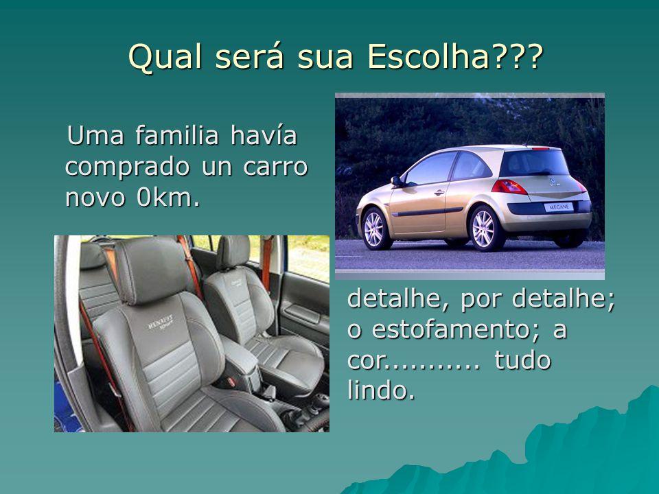 Qual será sua Escolha??? Uma familia havía comprado un carro novo 0km. Uma familia havía comprado un carro novo 0km. detalhe, por detalhe; o estofamen