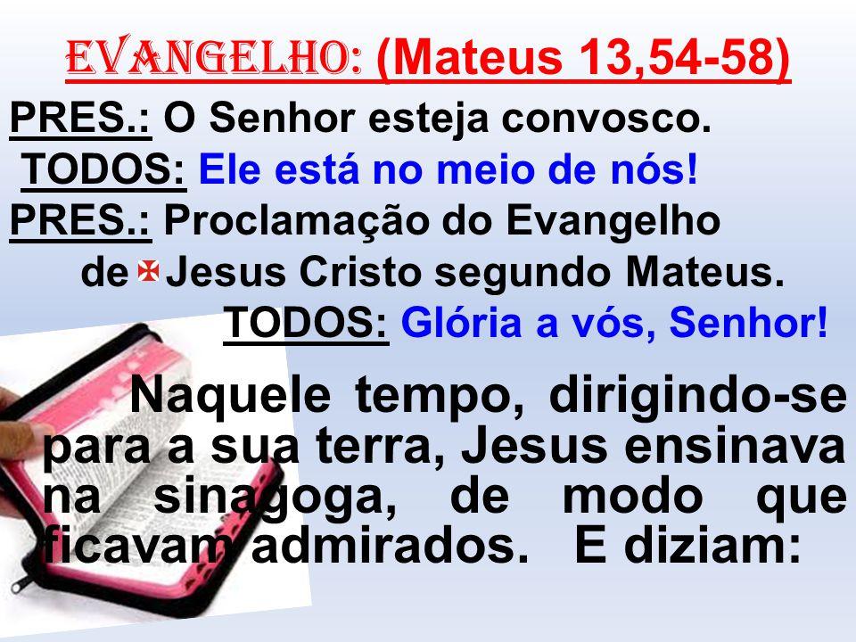EVANGELHO: (Mateus 13,54-58) PRES.: O Senhor esteja convosco. TODOS: Ele está no meio de nós! PRES.: Proclamação do Evangelho de Jesus Cristo segundo
