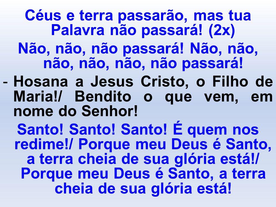 Céus e terra passarão, mas tua Palavra não passará! (2x) Não, não, não passará! Não, não, não, não, não, não passará! -Hosana a Jesus Cristo, o Filho