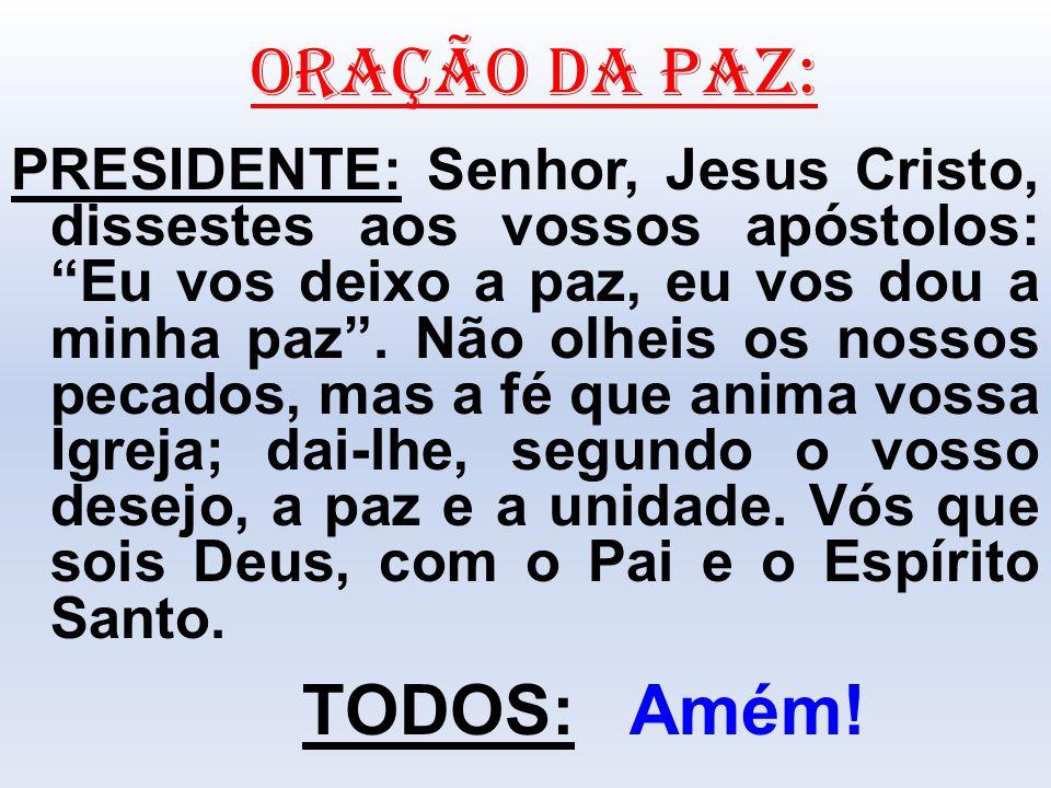"""ORAÇÃO DA PAZ: PRESIDENTE: Senhor, Jesus Cristo, dissestes aos vossos apóstolos: """"Eu vos deixo a paz, eu vos dou a minha paz"""". Não olheis os nossos pe"""