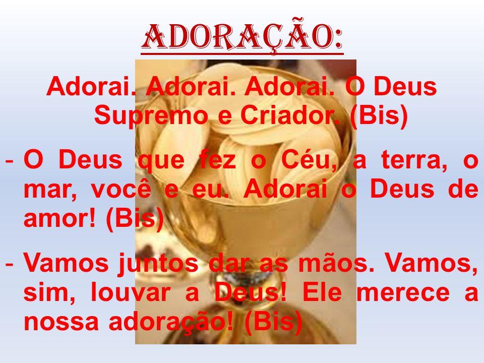 ADORAÇÃO: Adorai. Adorai. Adorai. O Deus Supremo e Criador. (Bis) -O Deus que fez o Céu, a terra, o mar, você e eu. Adorai o Deus de amor! (Bis) -Vamo