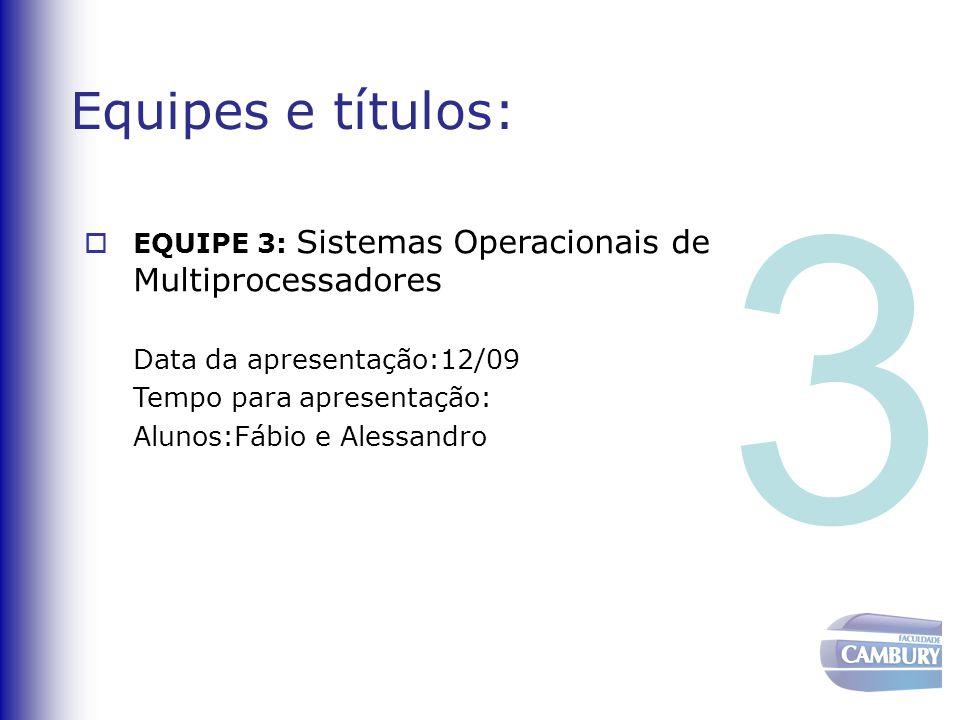 Equipes e títulos:  EQUIPE 3: Sistemas Operacionais de Multiprocessadores Data da apresentação:12/09 Tempo para apresentação: Alunos:Fábio e Alessand